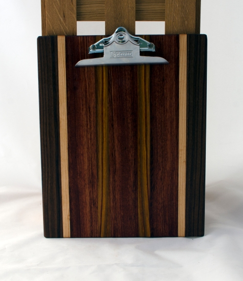 "Clipboard 16 - 025. Black Walnut, Hard Maple, Bubinga & Canarywood. Letter size. 1"" clip."