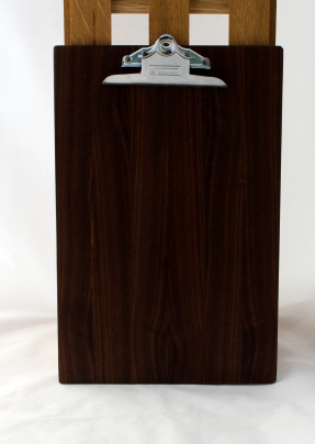 "Clipboard 16 - 027. Black Walnut. Legal size. 1"" clip."