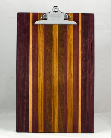 "Clipboard 16 - 030. Bubinga, Cherry, Canarywood & Jatoba. Legal size, 1"" clip."