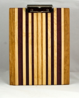 "Clipboard 16 - 032. Cherry, Hard Maple & Purpleheart. Letter size, 1/2"" clip."