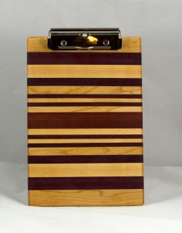 "Clipboard 16 - 032. Hard Maple, Purpleheart & Bloodwood. Notepad size, 1/2"" clip."