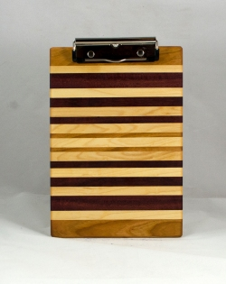 "Clipboard 16 - 034. Cherry, Hard Maple & Purpleheart. Notepad size, 1/2"" clip."