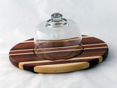 Domed Cheese & Cracker Server 16 - 01. Hard Maple, Bubinga & Bloodwood. Footed.