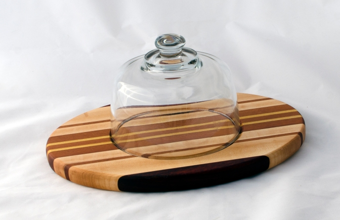 Domed Cheese & Cracker Server 16 - 05. Black Walnut, Hard Maple, Cherry & Yellowheart. Made for 2-sided use, but feet could be added.