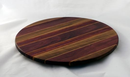 "Lazy Susan 16 - 024. Black Walnut, Purpleheart, Cherry & Bloodwood. 17"" diameter."