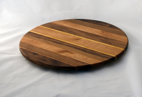 "Lazy Susan 16 - 030. Black Walnut, Cherry & Mahogany. 17"" diameter."
