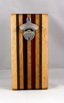 Magic Bottle Opener 16 - 120. Hard Maple, Black Walnut, Mahogany & Padauk. Single Magic.