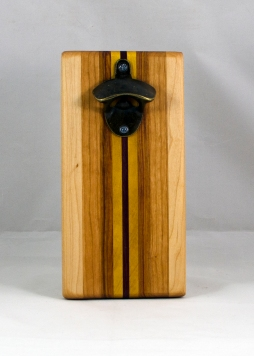 Magic Bottle Opener 16 - 128. Hard Maple, Cherry, Canarywood, Yellowheart & Padauk. Single Magic.