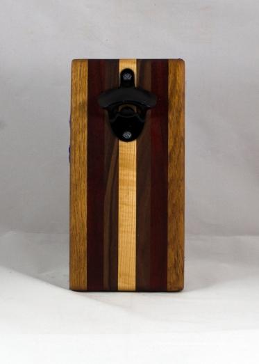 Magic Bottle Opener 16 - 146. Red Oak, Black Walnut, Padauk & Hard Maple. Double Magic.