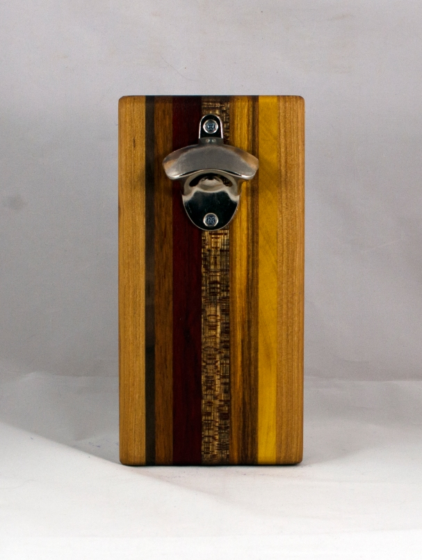 Magic Bottle Opener 16 - 147. Cherry, Black Walnut, Jatoba, Padauk, Burmese Teak, Canarywood & Yellowheart. Double Magic.