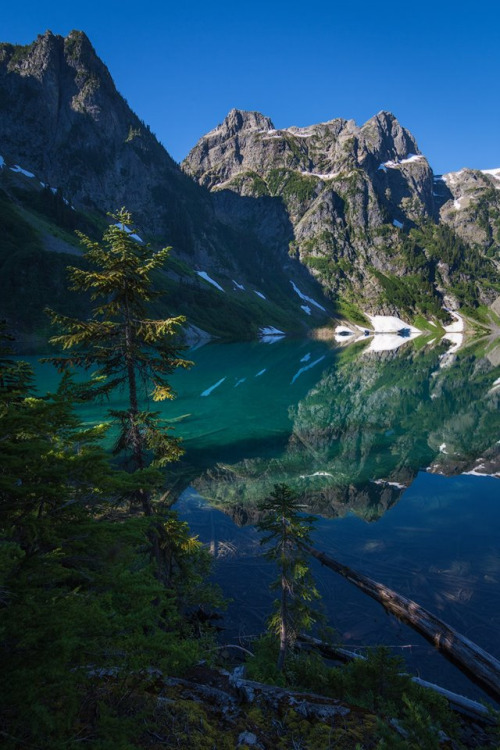 A hike through alder branches, thick vine maple stands, stinging nettle, devil's club and a moss-covered gully is all worth it to reach this gem-colored lake. Bright and inviting, that first cold plunge into the icy lake re-invigorates like nothing else can. That's what a trip to North Cascades National Park in Washington is all about. Photo from Trapper Lake by Crystal Brindle. Posted on Tumblr by the US Department of the Interior, 9/7/16.