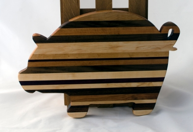 "Pig 16 - 06. Hard Maple, Hickory, Black Walnut, Yellowheart, Canarywood & Cherry. 12"" x 19"" x 7/8""."