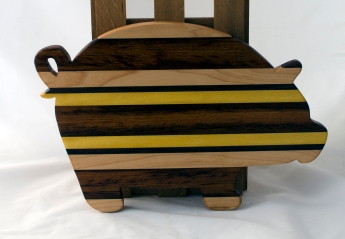 "Pig 16 - 10. Hard Maple, Black Walnut, Jatoba & Yellowheart.. 12"" x 19"" x 1-1/8""."