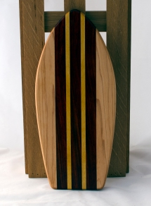 "Small Surfboard 16 - 10. Hard Maple, Padauk & Yellowheart. 6"" x 16"" x 3/4""."