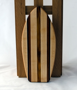 "Small Surfboard 16 - 11. Hard Maple & Canarywood. 6"" x 16"" x 3/4""."