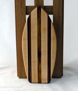 """Small Surfboard 16 - 11. Hard Maple & Canarywood. 6"""" x 16"""" x 3/4""""."""