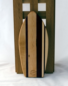 "Small Surfboard 16 - 14. Hard Maple, Purpleheart & Bloodwood. 6"" x 16"" x 3/4""."