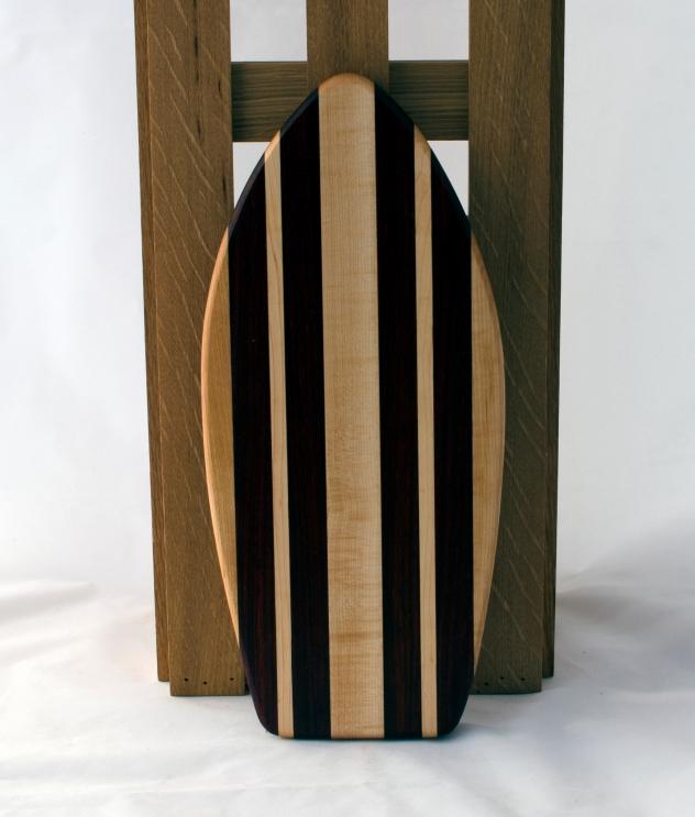 "Small Surfboard 16 - 15. Hard Maple & Padauk. 6"" x 16"" x 3/4""."
