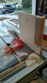 Resawing on a tablesaw requires a good jig, a steady featherboard to keep the stock firmly against the jig, and patience.