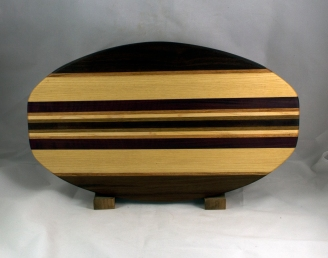 "Cheese & Cracker Server 16 - 02. Black Walnut, Purpleheart, Cherry & White Oak. 12"" x 19"" x 1-1/4""."