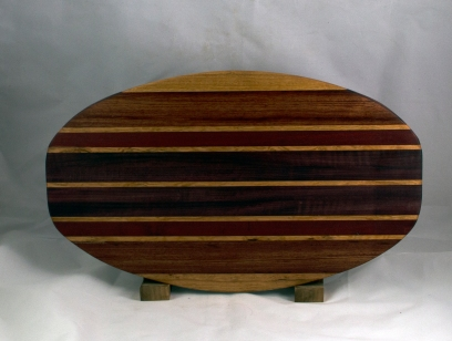 "Cheese & Cracker Server 16 - 05. Cherry, Bubinga, Purpleheart & Bloodwood. 12"" x 19"" x 1-1/4""."