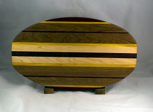 "Cheese & Cracker Server 16 - 06. Padauk, Yellowheart, White Oak & Purpleheart. 12"" x 19"" x 1-1/4""."
