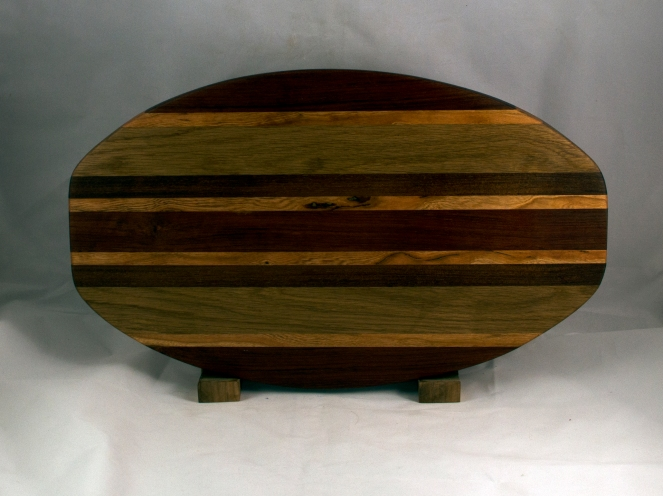 "Cheese & Cracker Server 16 - 09. Black Walnut, Cherry & White Oak. 12"" x 19"" x 1-1/4""."