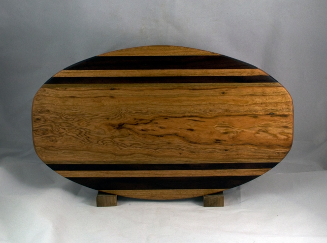"Cheese & Cracker Server 16 - 10. Cherry, Black Walnut & White Oak. 12"" x 19"" x 1-1/4""."