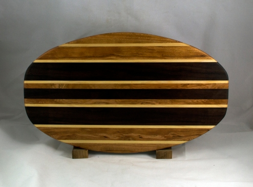 "Cheese & Cracker Server 16 - 11. Cherry, Hard Maple & Black Walnut.. 12"" x 19"" x 1-1/4""."