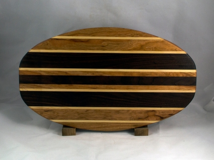 "Cheese & Cracker Server 16 - 13. Cherry, Hard Maple & Black Walnut. 12"" x 19"" x 1-1/4""."