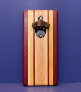 Magic Bottle Opener 16 - 155. Purpleheart, Hard Maple & Yellowheart. Single Magic.