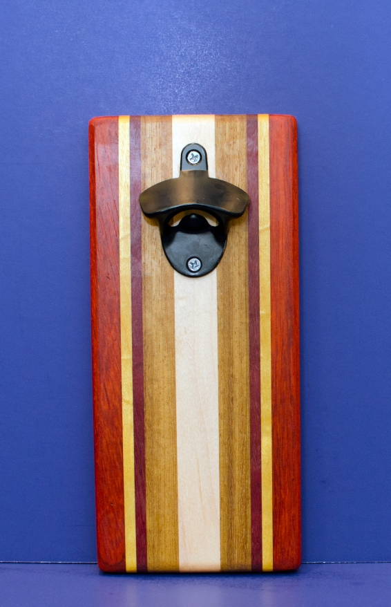 Magic Bottle Opener 16 - 165. Padauk, Yellowheart, Purpleheart, Canarywood & Hard Maple. Double Magic.