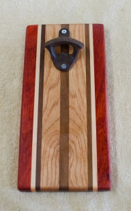 Magic Bottle Opener 177. Padauk, Hard Maple, Black Walnut & Red Oak. Single Magic.
