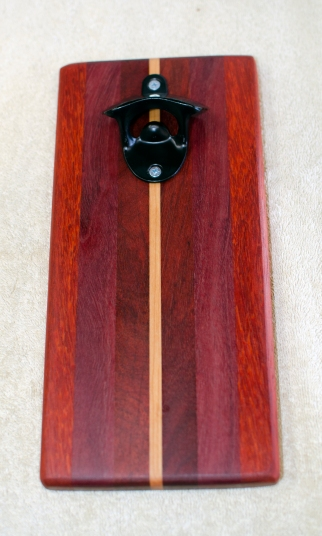 Magic Bottle Opener 178. Padauk, Purpleheart, Bubinga, Bloodwood & Cherry. Single Magic.