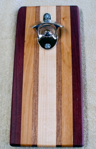 Magic Bottle Opener 16 - 201. Purpleheart, Cherry, Mahogany & Hard Maple. Double Magic.