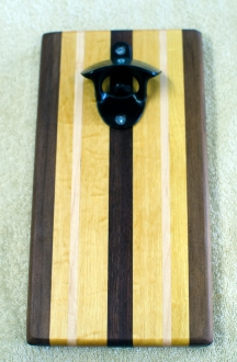 Magic Bottle Opener 16 - 202. Black Walnut, Yellowheart & Hard Maple. Double Magic.