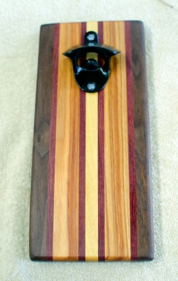 Magic Bottle Opener 16 - 203. Black Walnut, Purpleheart, Canarywood & Yellowheart. Double Magic.