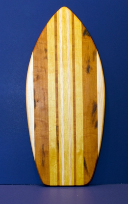 "Medium Surfboard 16 - 15. Hard Maple, Goncalo Alves, & Yellowheart. 8-1/2"" x 20"" x 3/4""."