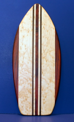"Medium Surfboard 16 - 16. Padauk, Birdseye Maple & Black Walnut. 8-1/2"" x 20"" x 3/4""."