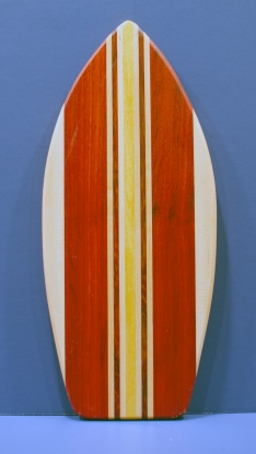 "Medium Surfboard 16 - 17. Hard Maple, Padauk & Yellowheart. 8-1/2"" x 20"" x 3/4""."