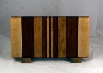 "Small Board 16 - 034. Hard Maple, Bubinga, Cherry, Bloodwood & Purpleheart. Edge Grain. 7"" x 13"" x 1-1/4""."