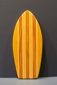 "Small Surfboard 16 - 18. Yellowheart, Hard Maple & Canarywood. 7"" x 16"" x 3/4""."