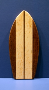 "Small Surfboard 16 - 19. Jatoba & Birdseye Maple. 7"" x 16"" x 3/4""."