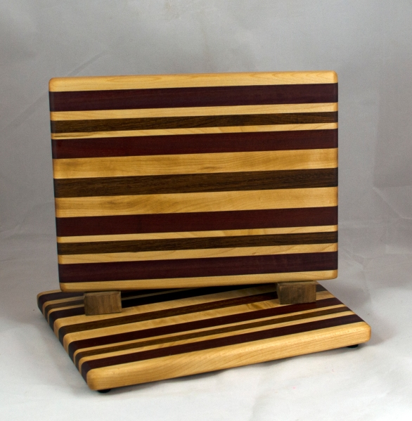 "Cheese Board 16 - 050. Hard Maple, Black Walnut, Bloodwood & Jatoba. 8"" x 11"" x 3/4""."
