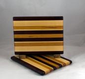 """Cheese Board 16 - 052. Hard Maple, Cherry & Padauk.8"""" x 11"""" x 3/4""""."""