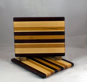 "Cheese Board 16 - 052. Hard Maple, Cherry & Padauk.8"" x 11"" x 3/4""."
