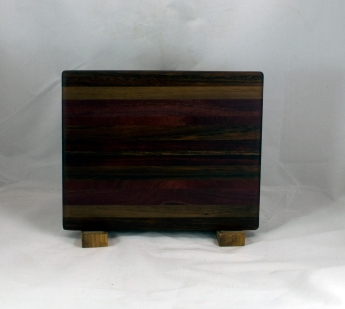 "Cheese Board 16 - 060. Black Walnut, Caribbean Rosewood, Purpleheart, Bloodwood & Jatoba. 8"" x 11"" x 3/4""."
