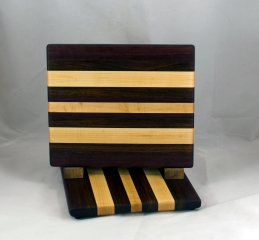 "Cheese Board 16 - 067. Black Walnut, Purpleheart & Hard Maple. 8"" x 11"" x 3/4""."