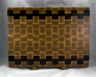"Cutting Board 16 - End 049. Hard Maple & Jatoba. End Grain. 16"" x 21-1/2"" x 1-1/2"". Sold at its first showing."