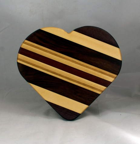 "Heart 16 - 01. Purpleheart, Hard Maple, Bubinga, Cherry & Bloodwood. 11"" x 12"" x 3/4""."